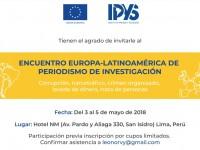 """IPYS y la Unión Europea en Perú abren inscripciones para """"Encuentro Europa-Latinoamérica de Periodismo de Investigación"""""""