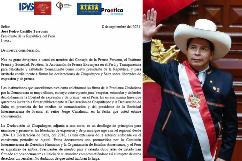 Perú: Organizaciones de la sociedad civil invitan al presidente Pedro Castillo a firmar declaraciones de Chapultepec y Salta