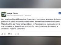 Ecuador: Periodista es intimidado por hermano de legislador, tras compartir un video en redes
