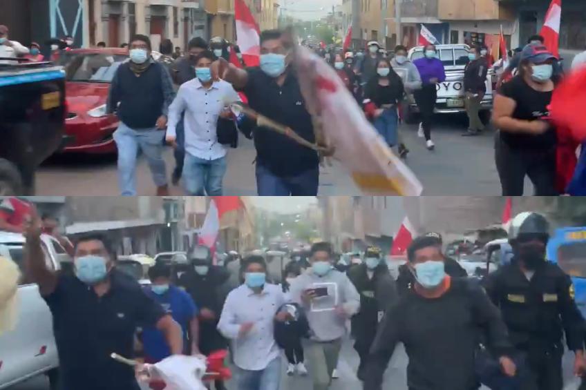 Perú: simpatizantes de candidato Pedro Castillo golpean, persiguen, insultan y amenazan a periodistas de canal de noticias